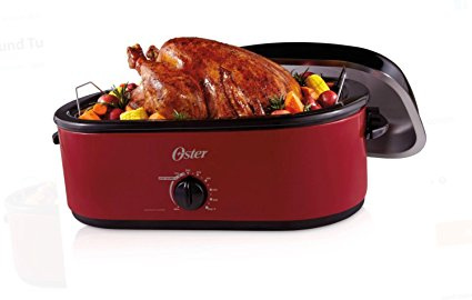 Oster 24-Pound Turkey Roaster Oven, 18-Quart . Red and Black