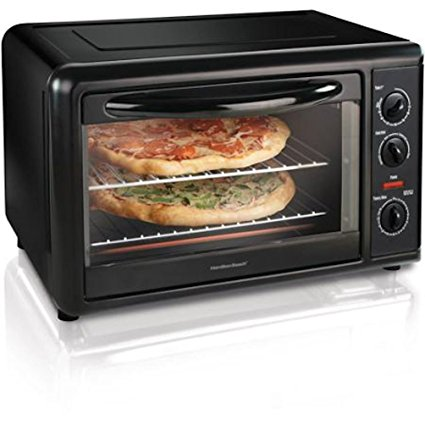 Hamilton Beach Countertop Oven with Convection & Rotisserie in Black to Cook in the Kitchen Meals for Lunch and Dinner Toast, Pizzas, Cakes and other Baking